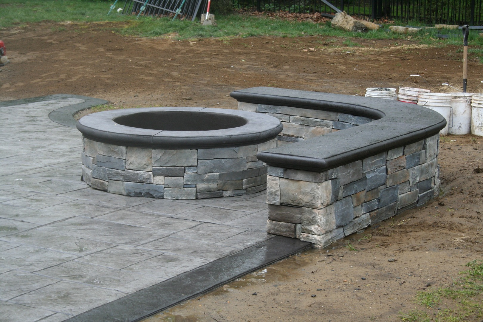Custom Fire Pit U0026 Seating Wall